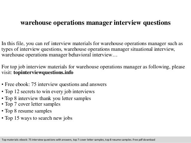 Warehouse Operations Manager Interview Questions In This File, You Can Ref  Interview Materials For Warehouse ...