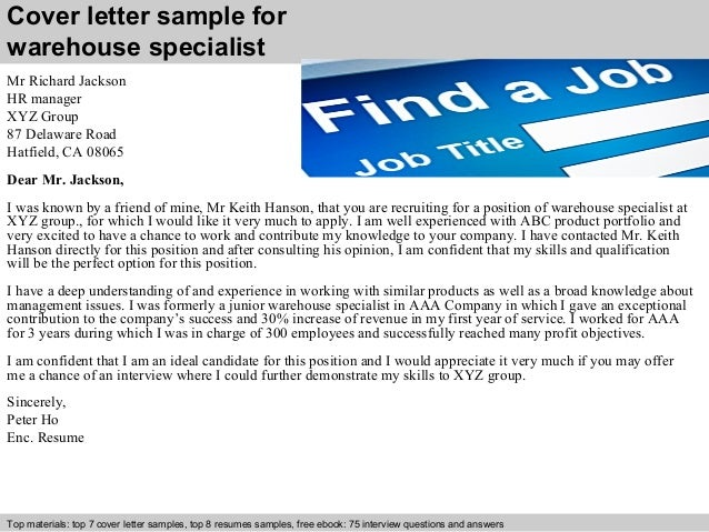 2 cover letter sample for warehouse specialist - Warehouse Specialist Resume