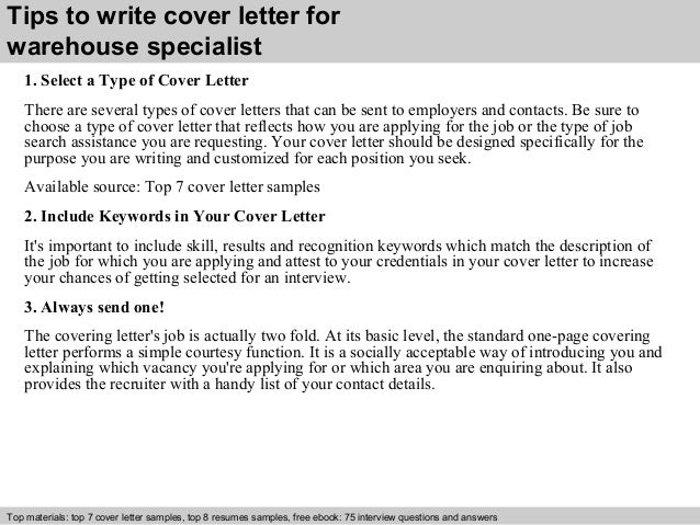 3 tips to write cover letter for warehouse specialist - Warehouse Specialist Resume