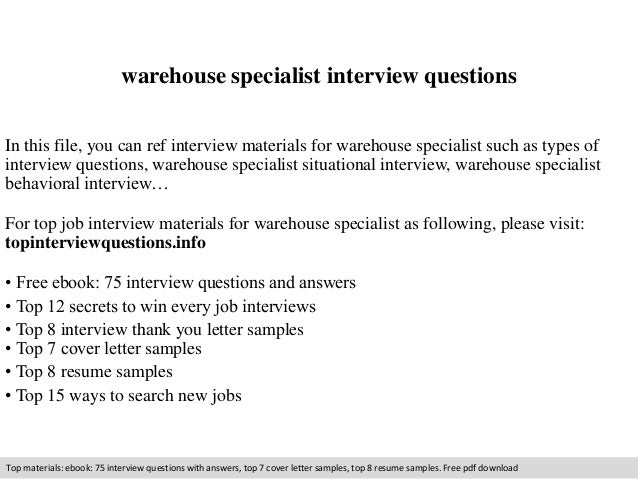 warehouse specialist interview questions in this file you can ref interview materials for warehouse specialist. Resume Example. Resume CV Cover Letter