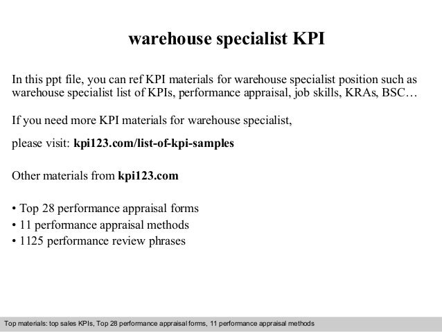 warehouse specialist kpi in this ppt file you can ref kpi materials for warehouse specialist - Warehouse Specialist