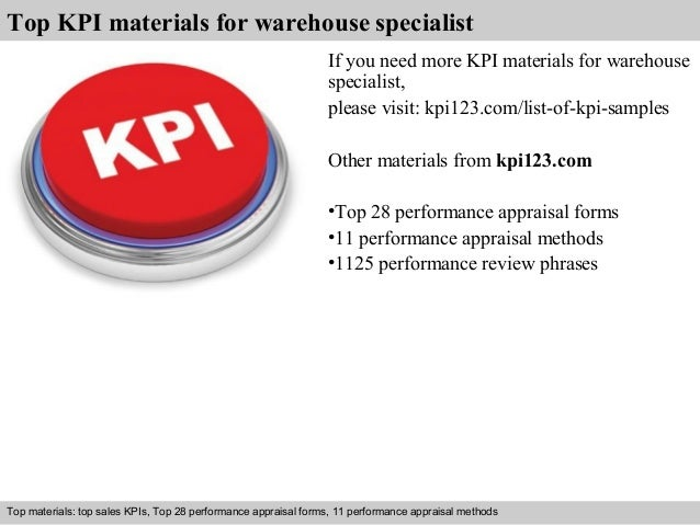 7 top kpi materials for warehouse specialist - Warehouse Specialist