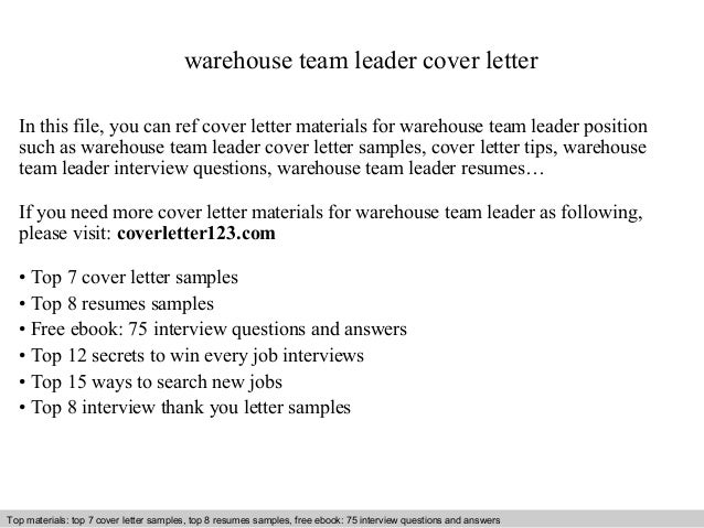 cover letter for a team leader position - warehouse team leader cover letter