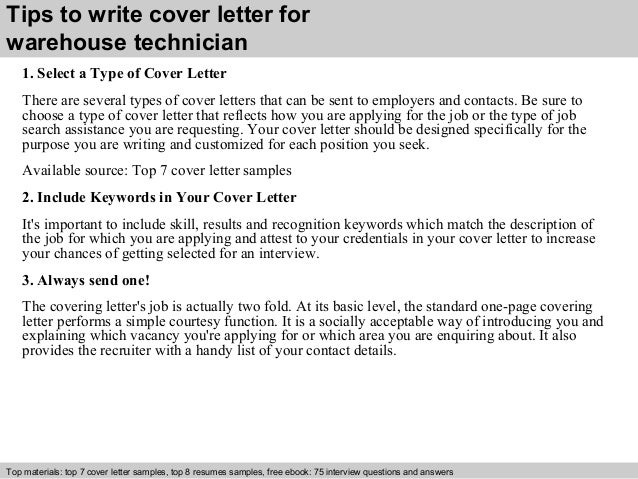 Beautiful ... 3. Tips To Write Cover Letter For Warehouse Technician ...