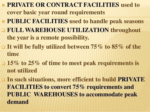  PRIVATE OR CONTRACT FACILITIES used to  cover basic year round requirements PUBLIC FACILITIES used to handle peak seaso...