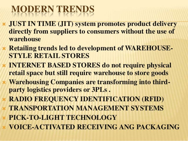 MODERN TRENDS   JUST IN TIME (JIT) system promotes product delivery    directly from suppliers to consumers without the u...