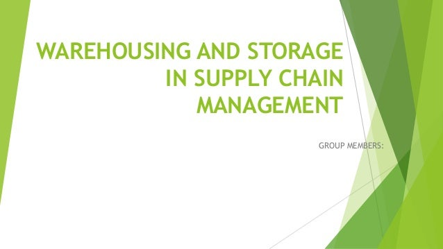 WAREHOUSING AND STORAGE IN SUPPLY CHAIN MANAGEMENT GROUP MEMBERS: