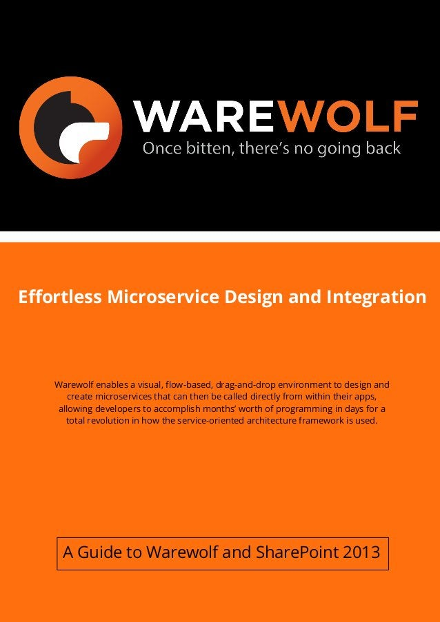 Effortless Microservice Design and Integration Warewolf enables a visual, flow-based, drag-and-drop environment to design ...