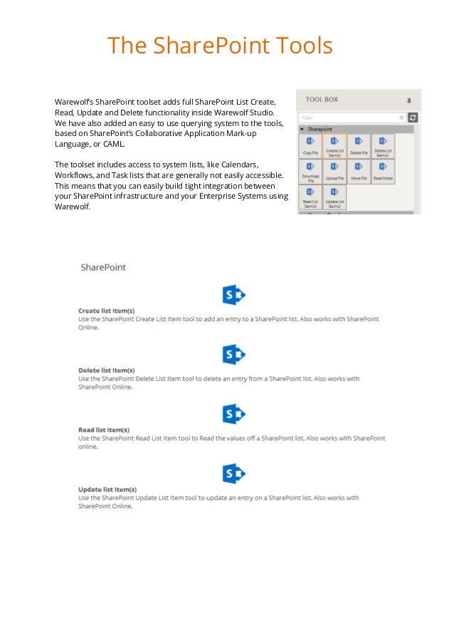 Warewolf's SharePoint toolset adds full SharePoint List Create, Read, Update and Delete functionality inside Warewolf Stud...