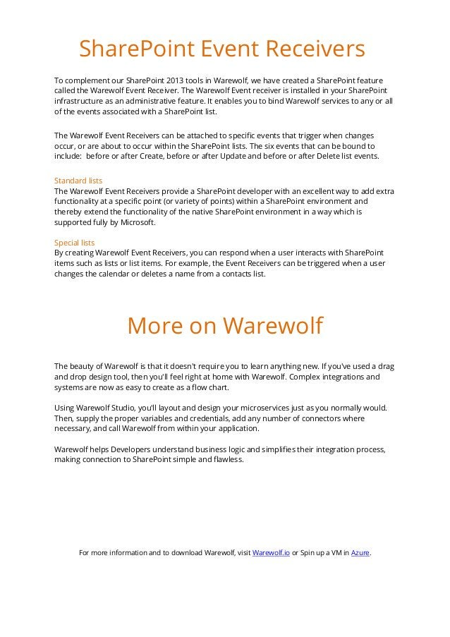 To complement our SharePoint 2013 tools in Warewolf, we have created a SharePoint feature called the Warewolf Event Receiv...