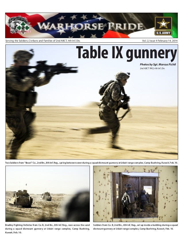Serving the Soldiers, Civilians and Families of 2nd ABCT, 4th Inf. Div.  Vol. 2, Issue 4 February 14, 2014  Table IX gunne...