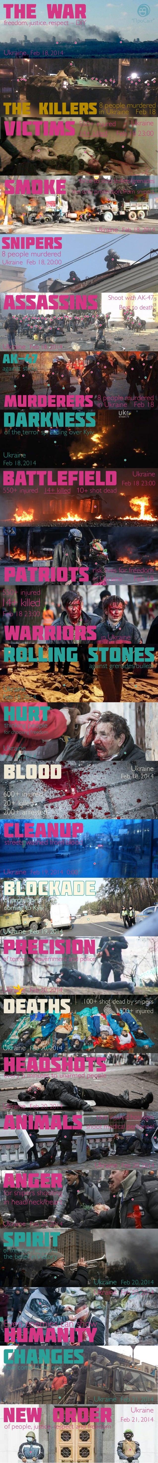 "The war  ""ПроCвіт""  freedom, justice, respect – DIY  Ukraine Feb 18, 2014  The Killers  victims smoke  8 people murdered i..."