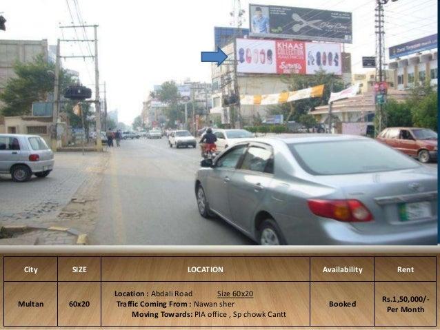 11 City SIZE LOCATION Availability Rent Multan 60x20 Location Abdali Road