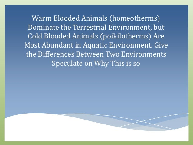 Warm Blooded Animals (homeotherms) Dominate the Terrestrial Environme…