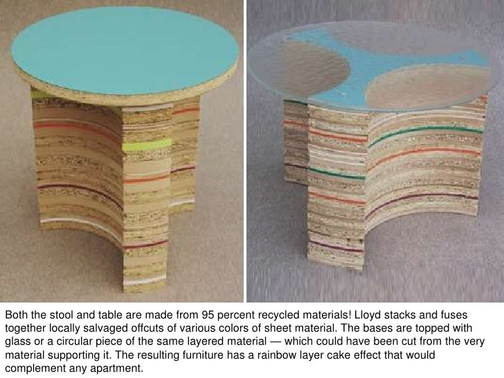 table recycled materials. 24. How To Design From Recycled Materials\u2022 Table Materials N