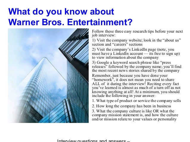 Warner bros  entertainment interview questions and answers