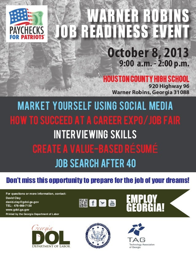 October 8, 2013 9:00 a.m. - 2:00 p.m. MARKET YOURSELF USING SOCIAL MEDIA HOW TO SUCCEED AT A CAREER EXPO/JOB FAIR INTERVIE...