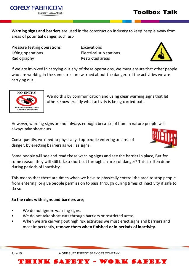 warning signs barriers tbt