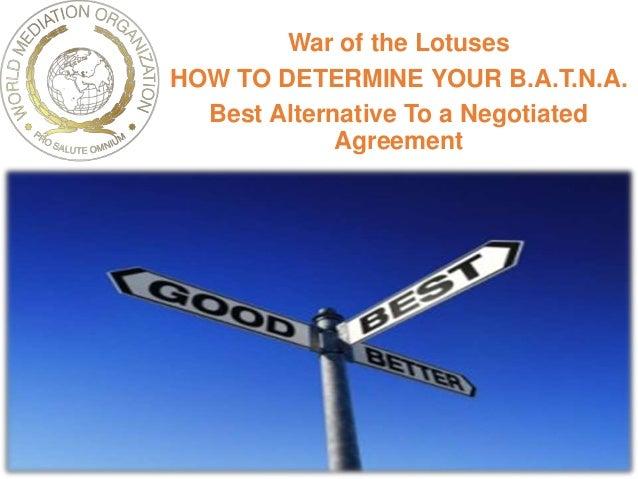 batna best alternative Batna = best alternative to a negotiated agreement avant de commecer la  négociation, il faut toujours considérer les conséquences potentielles de ne pas .