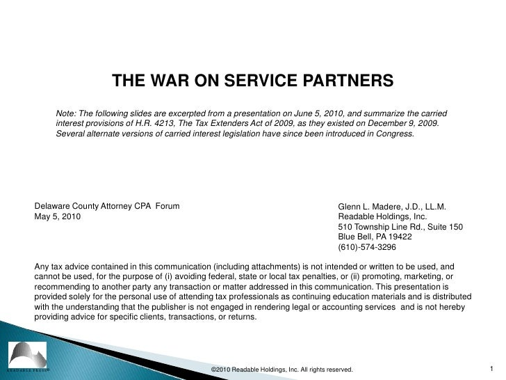 1<br />©2010 Readable Holdings, Inc. All rights reserved.<br />THE WAR ON SERVICE PARTNERS<br />Note:The following slides...