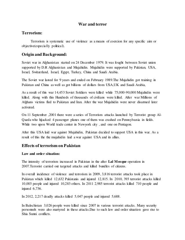 pakistan and war on terrorism War against terrorism: how pakistan paying a human price in it  warning: presentation have very painful images  created by: shahzad hafeez.