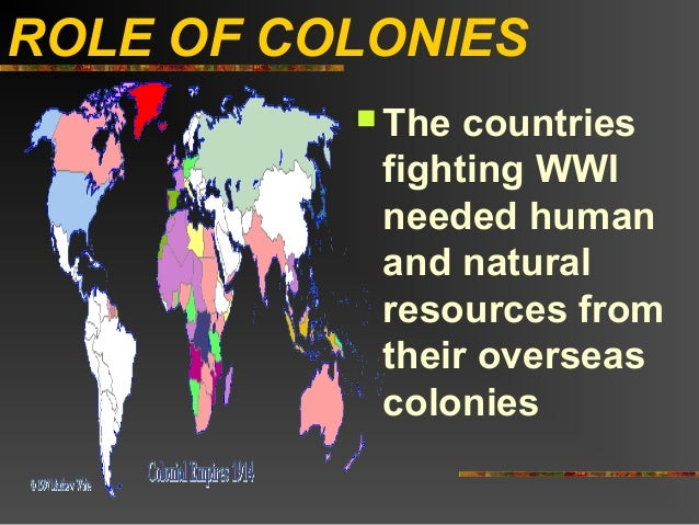 ROLE OF COLONIES           The countries           fighting WWI           needed human           and natural           re...