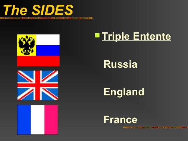 The SIDES             Triple   Entente             Russia             England             France
