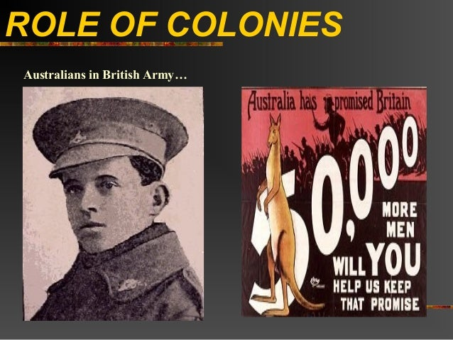 ROLE OF COLONIESAustralians in British Army…