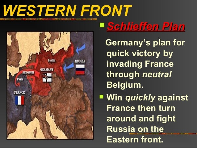 WESTERN FRONT          Schlieffen   Plan           Germany's plan for           quick victory by           invading Franc...