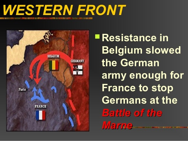 WESTERN FRONT          Resistance  in          Belgium slowed          the German          army enough for          Franc...