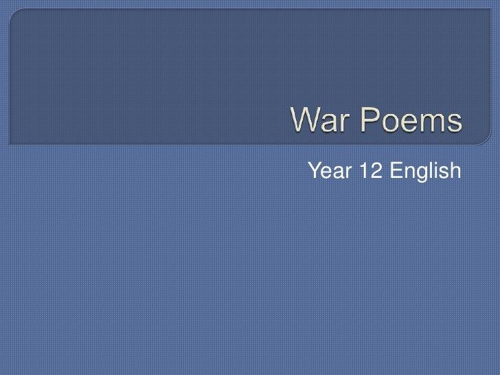 War Poems<br />Year 12 English<br />