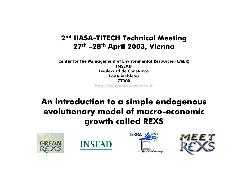 2nd IIASA-TITECH Technical Meeting         27th –28th April 2003, Vienna    Center for the Management of Environmental Res...