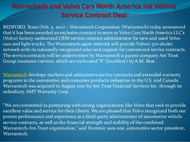 Warrantech And Volvo Cars North America Ink Vehicle Service Contract