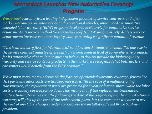 Warrantech Automotive, a leading independent provider of service contracts and after- market warranties on automobiles and...