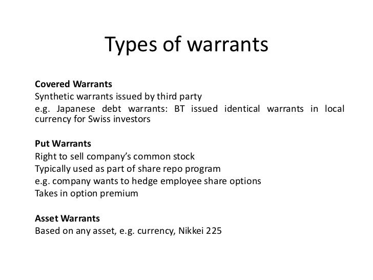 equity warrant bonds Any insight into the proper accounting treatment for detachable warrants  (chief  financial officer, global commercial strategies group) | jan 12, 2012.