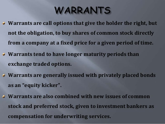 Stock options rights and warrants are different from convertible securities in that they