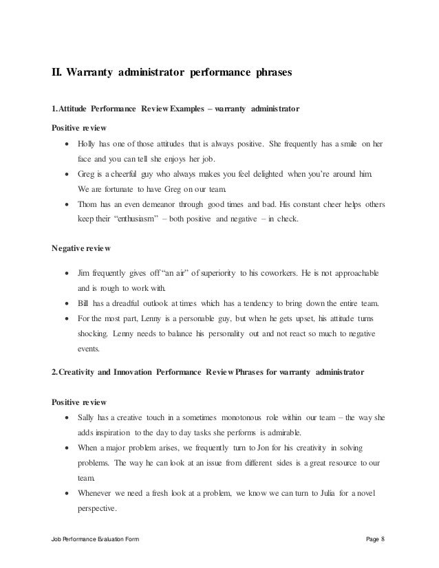 Evaluated By Date Reviewed By Date; 8. Job Performance Evaluation Form Page  8 II. Warranty Administrator ...