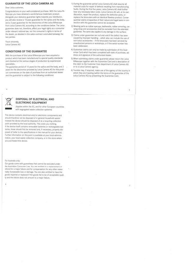 Warranty | Leica Riflescopes | Optics Trade