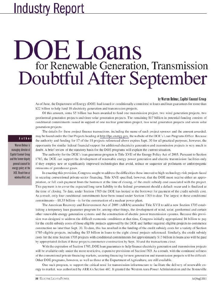 DOE Loans for Renewable Generation, Transmission Doubtful After September