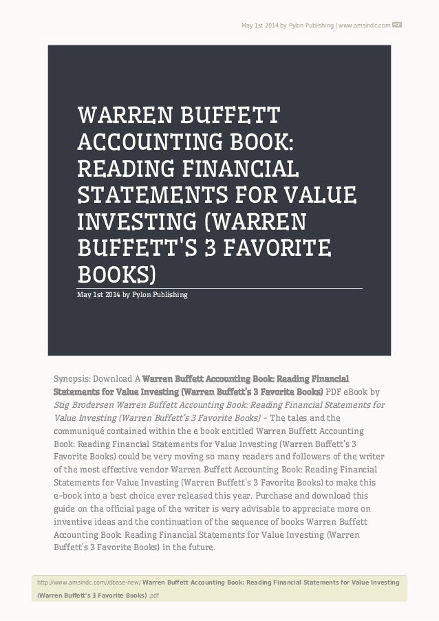 Warren buffett accounting book reading financial statements for value may 1st 2014 by pylon publishing amsindc http fandeluxe Gallery