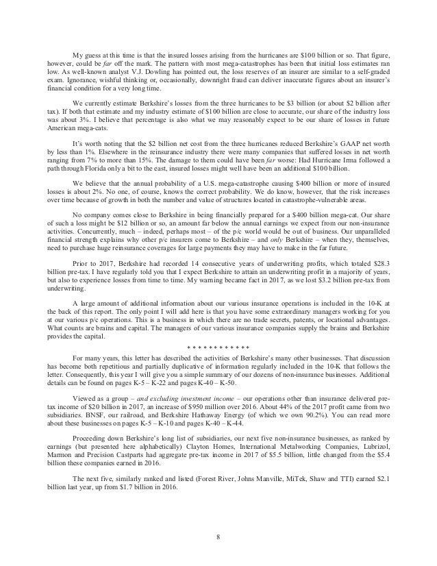 Warren Buffetts Annual Letter 2017