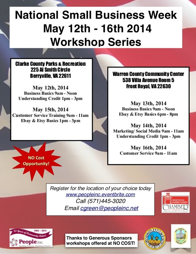 Clarke County Parks & Recreation 225 Al Smith Circle Berryville, VA 22611  May 12th, 2014 Business Basics 9am - Noon Under...