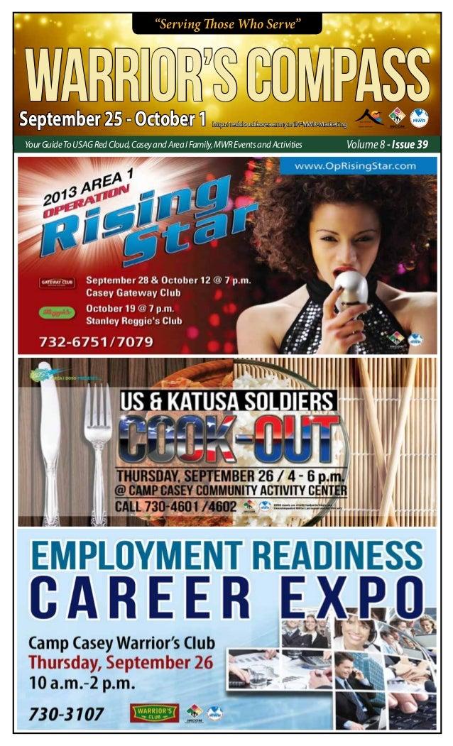 """Serving Those Who Serve"" September 25 - October 1 WARRIOR'SCOMPASS Volume 8 - Issue 39YourGuideToUsagRedCloud,CaseyandAre..."