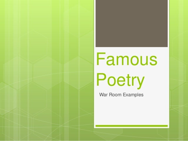 War room example: Emily Dickinson Poetry