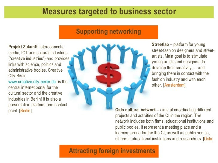 """Measures targeted to business sector Projekt Zukunft :  interconnects media, ICT and cultural industries (""""creative indust..."""