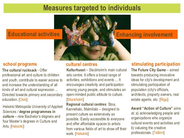 Measures targeted to individuals Kulturhuset  – Stockholm's main cultural arts centre. It offers a broad range of activiti...