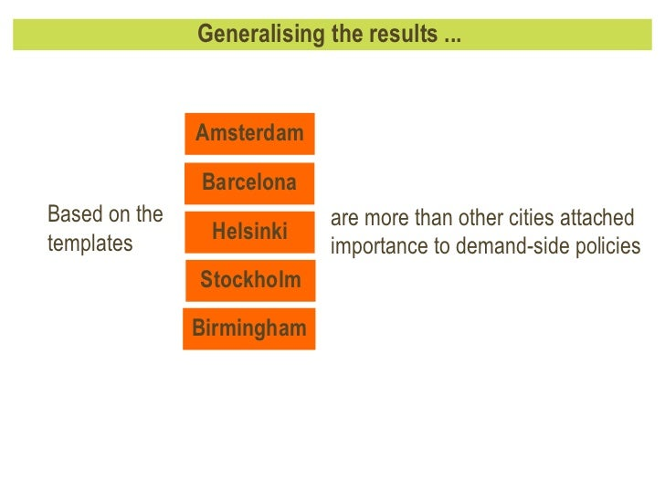 Generalising the results ...  are more than other cities attached importance to demand-side policies Based on the template...