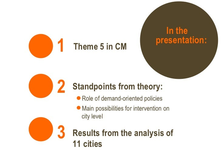 In the presentation: Theme 5 in CM   1   3   Results from the analysis of 11 cities <ul><ul><li>Role of demand-oriented po...