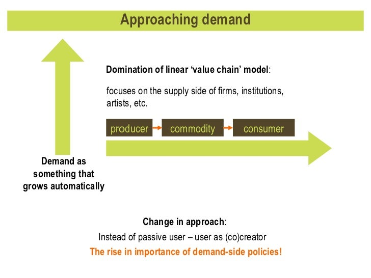 Approaching demand Change in approach :  Instead of passive user – user as (co)creator  The rise in importance of demand-s...