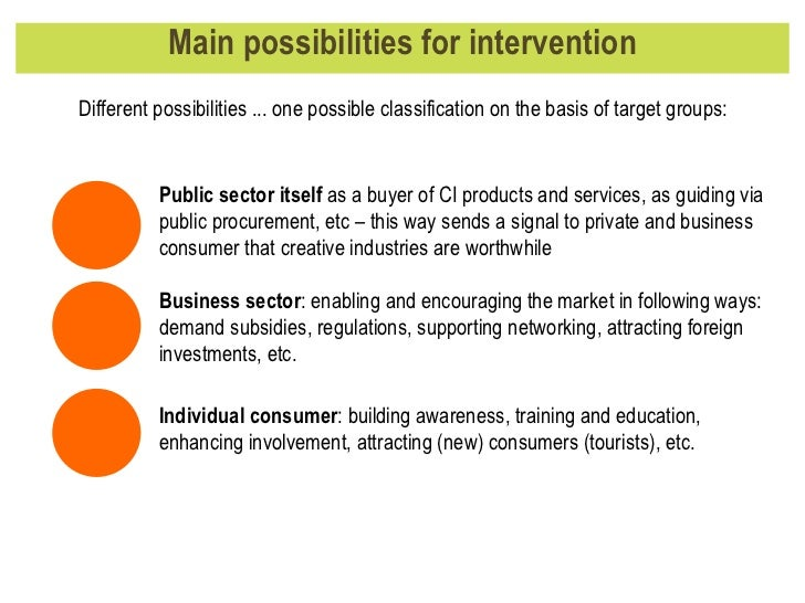 Main possibilities for intervention Different possibilities ... one possible classification on the basis of target groups:...